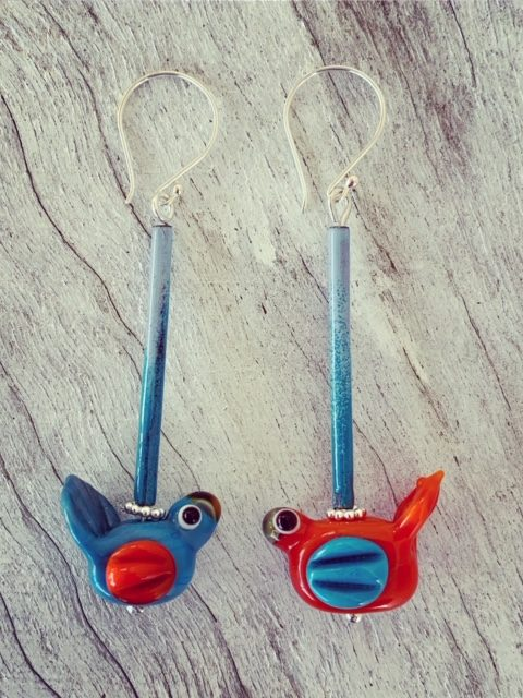 Blue and Orange bird earrings
