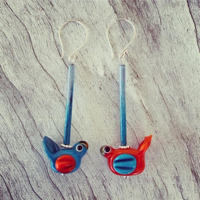 Blue and Orange bird earrings