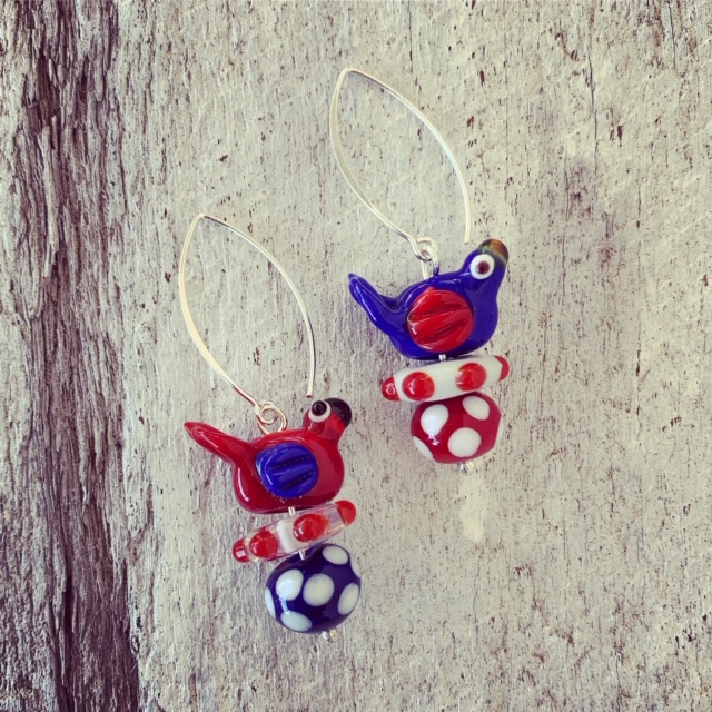 Red and Blue bird glass bead earrings