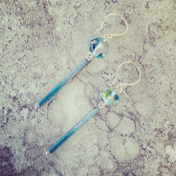 Blue Wine Bottle with Copper Enamel Tube earrings