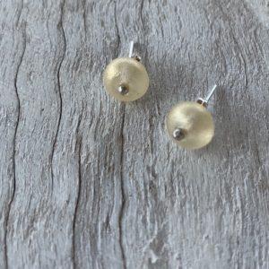 Wine bottle stud earrings, beads made from a wine bottle