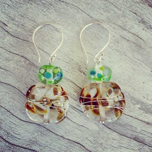 Brown and Green recycled glass bead earrings made from a wine bottle