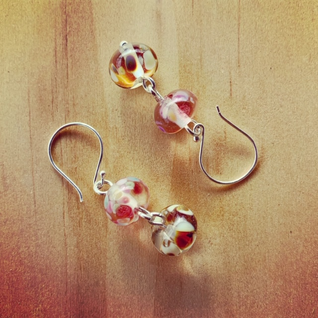 Pink and brown recycled glass earrings