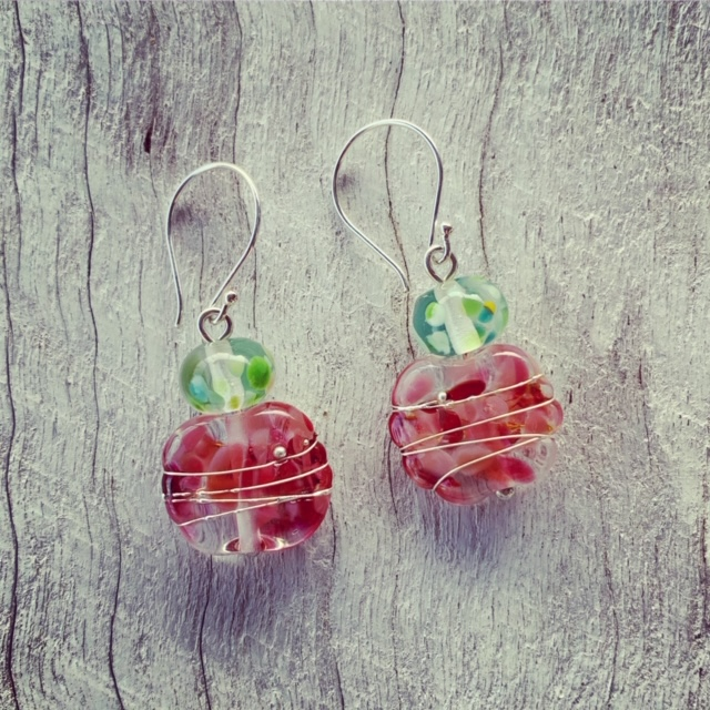 Simple and sweet pink and green earrings