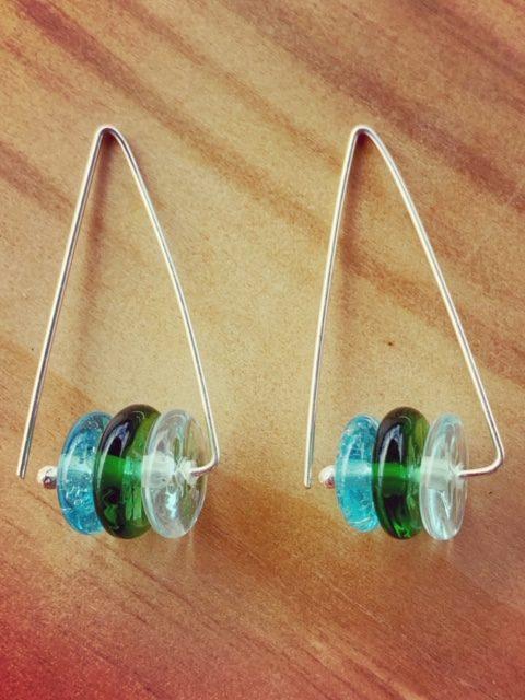 Triangle Shape Recycled Glass Earrings
