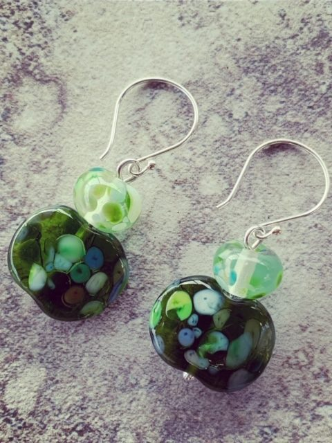 Wine and champagne bottle recycled glass earrings