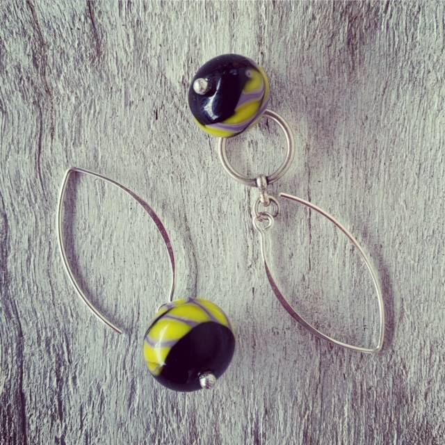 Yellow and purple glass earrings