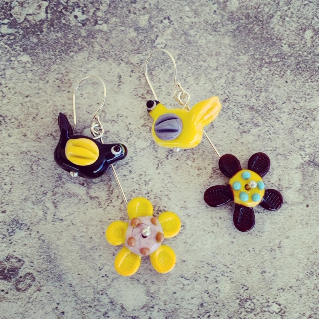Yellow and Purple - Bird and Flower Glass Earrings