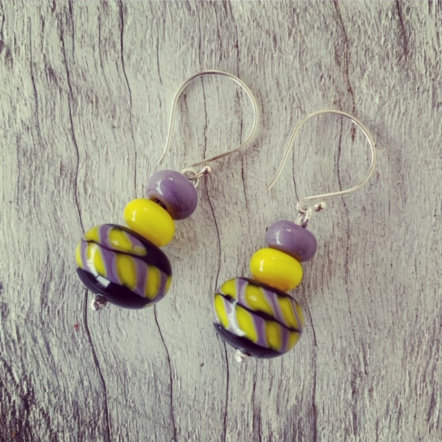 Yellow and Purple complementary earrings