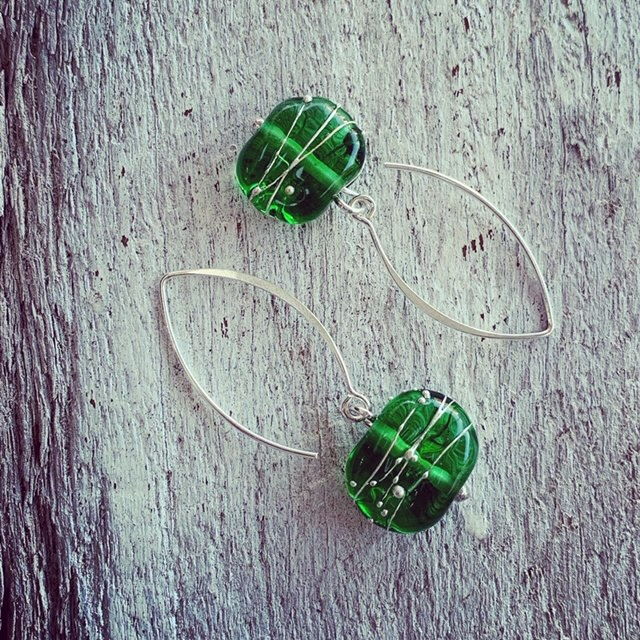 green recycled glass earrings