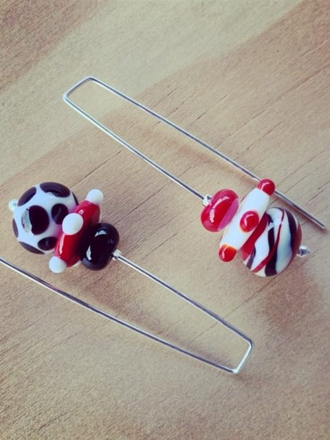 Long red, black and white earrings