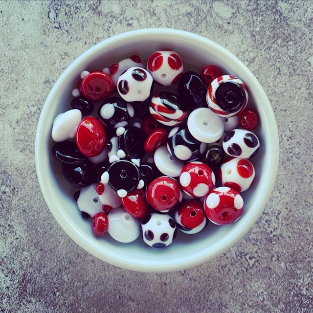 red black and white glass beads