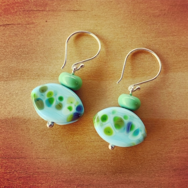 Blue and Green Frit earrings