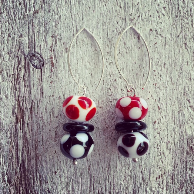 red, black and white glass earrings