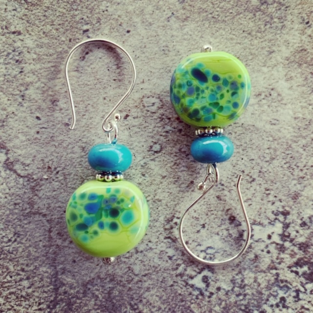 Blue and Green Frit earrings with a pop of silver