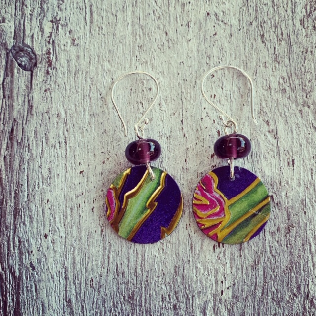 Recycled glass AND recycled tin earrings