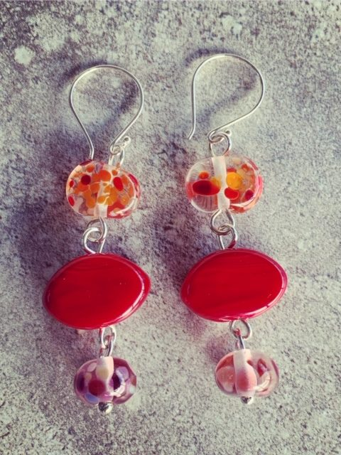 Red recycled and Italian glass earrings