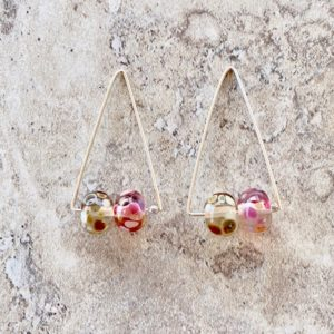 Recycled Glass Triangle Hoop Earrings