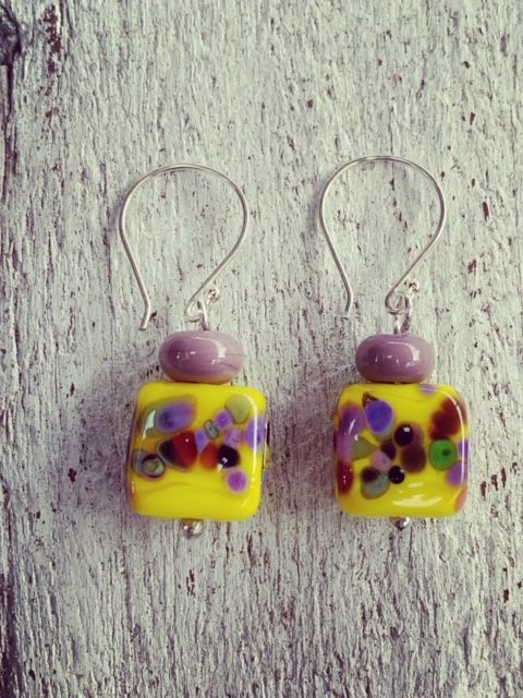 Yellow and Purple frit earrings