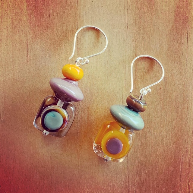 colourful mismatched glass earrings