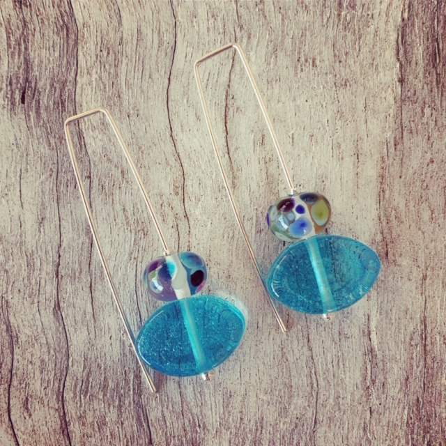 Bombay Sapphire Gin and Fever-Tree tonic recycled glass earrings