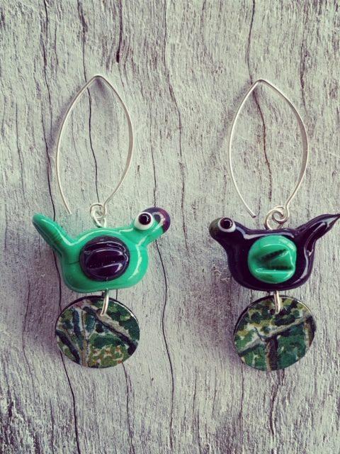 glass and tin earrings