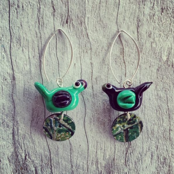glass and tin earrings