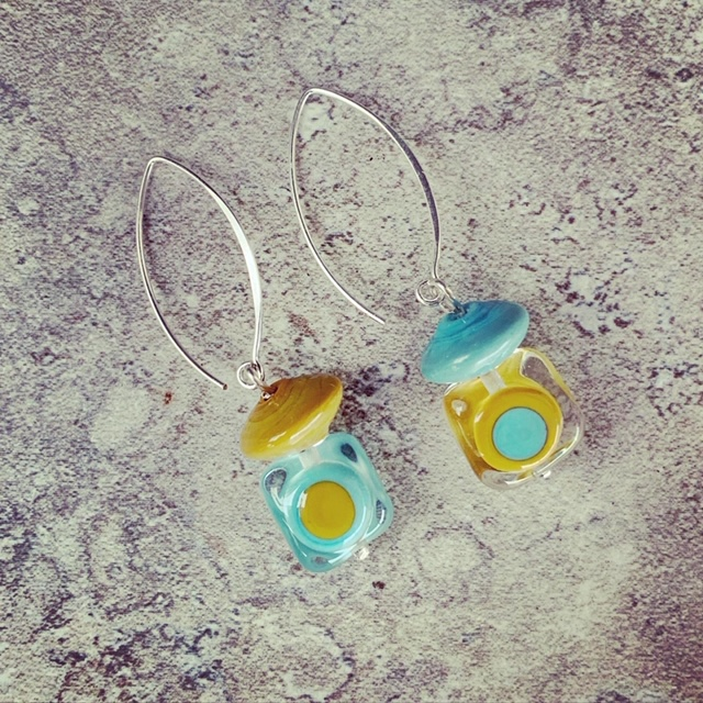 colourful retro glass earrings