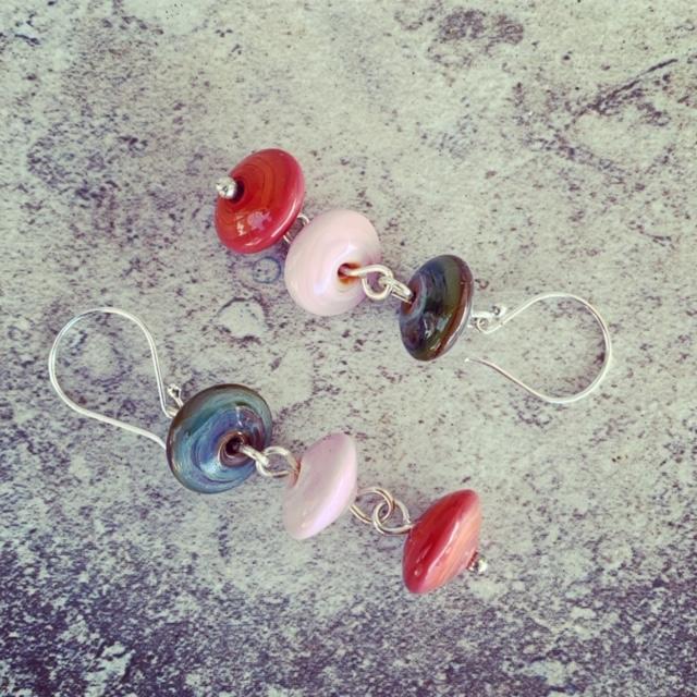 Earthy coloured dangly earrings