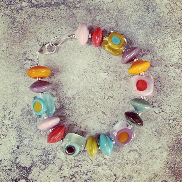 Colourful retro glass bracelet