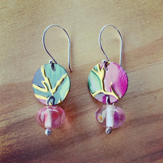 Recycled glass and tin earrings