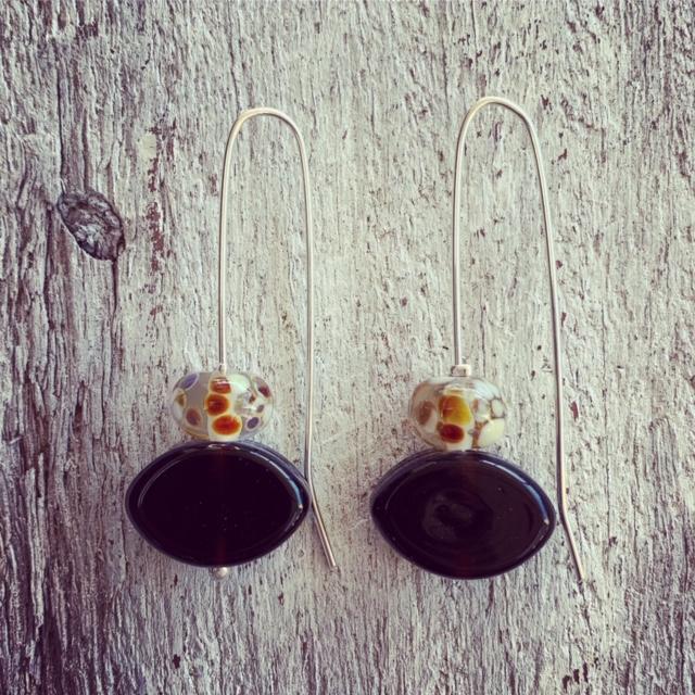 Hendricks Gin and Fever Tree tonic recycled glass bead earrings
