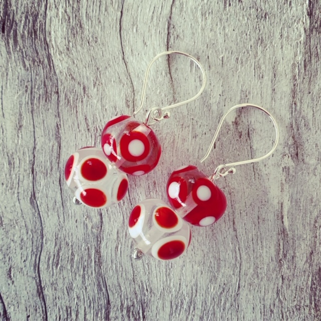 Red and white dotty earrings