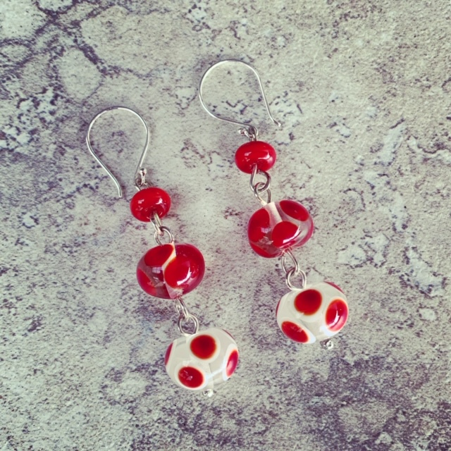 Red and white spotty earrings