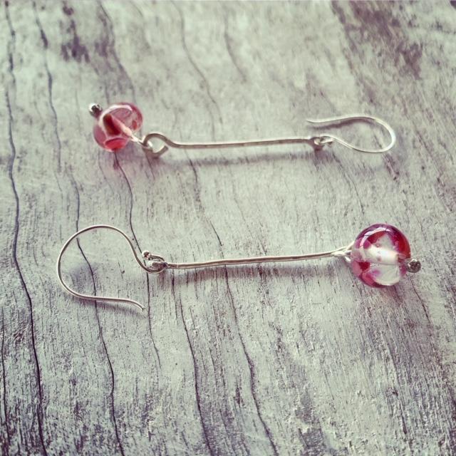 silver pink earrings