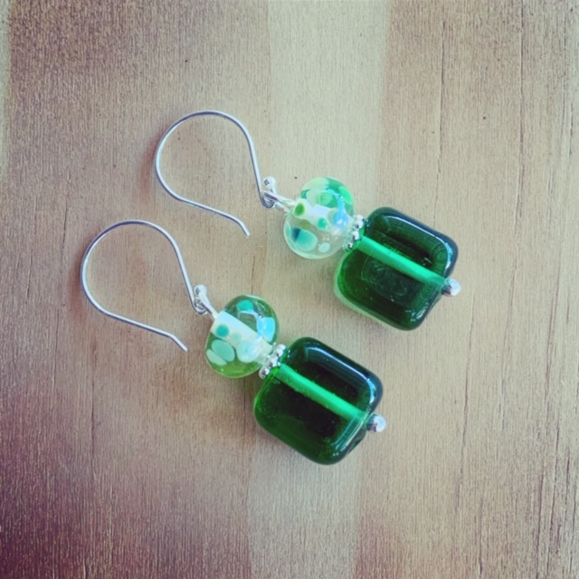 gin and tonic recycled glass earrings