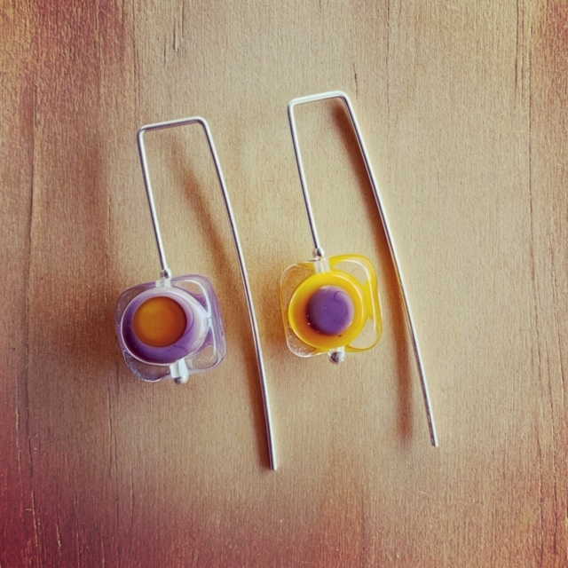 Yellow and Purple glass earrings