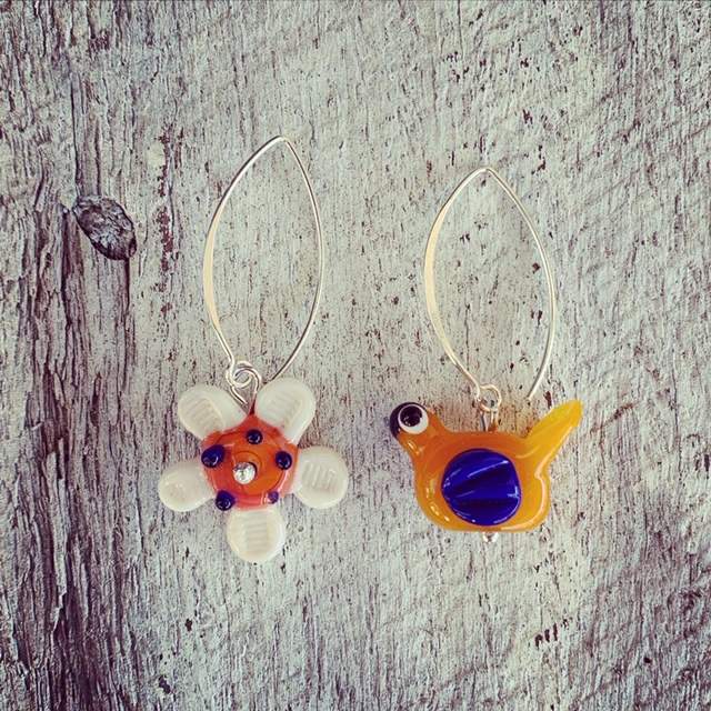 Blue/orange flower and bird earrings