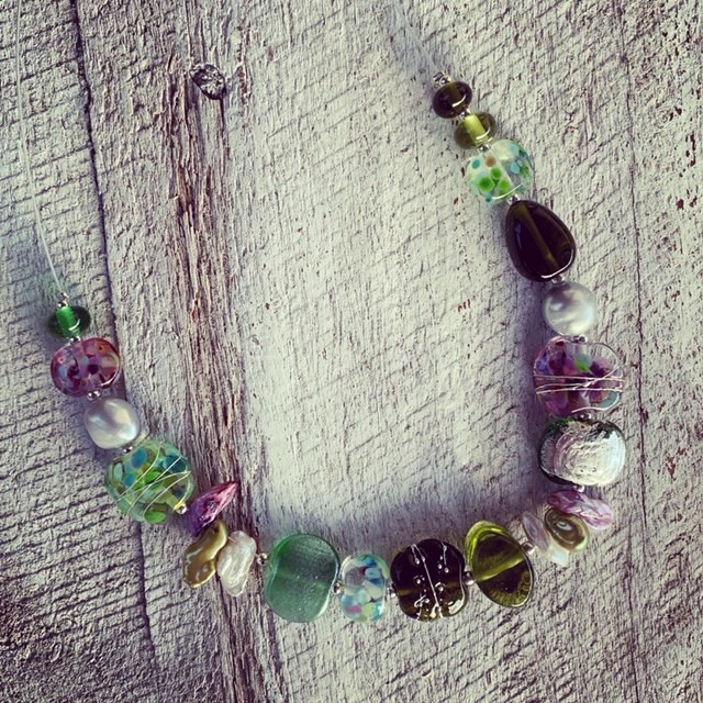 Recycled wine bottle earrings and necklace