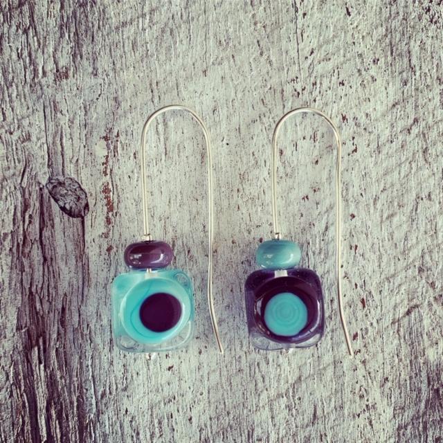 Aqua and Purple retro glass earrings