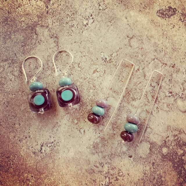 Purple and blue earrings