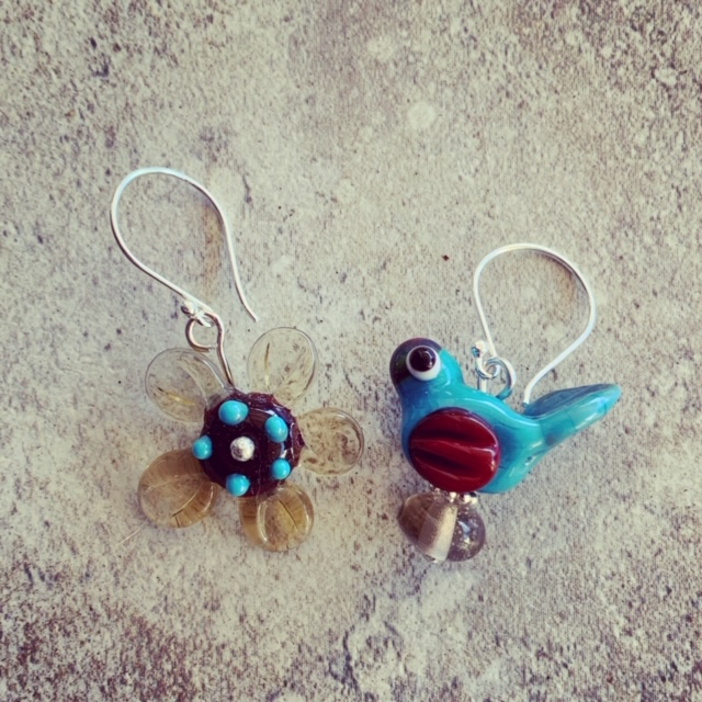 Flower and bird earrings