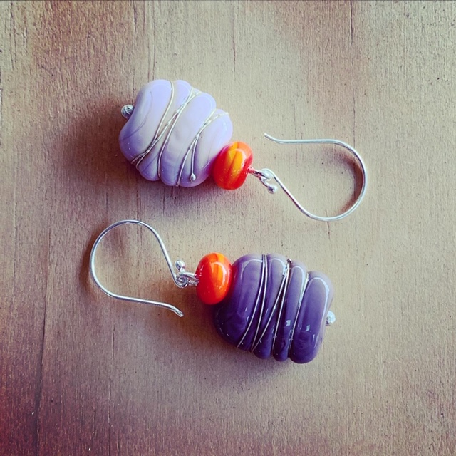 Pink and purple with a pop of orange earrings