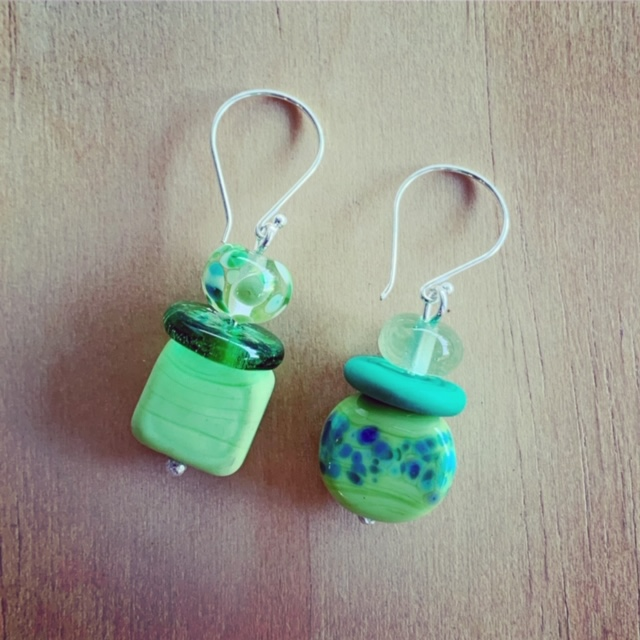 Green Mismatched Earrings