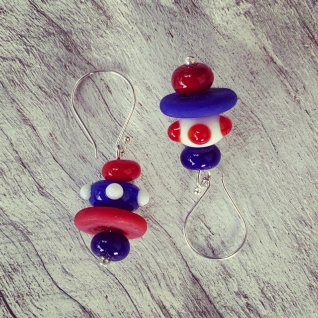Red, white and blue earrings