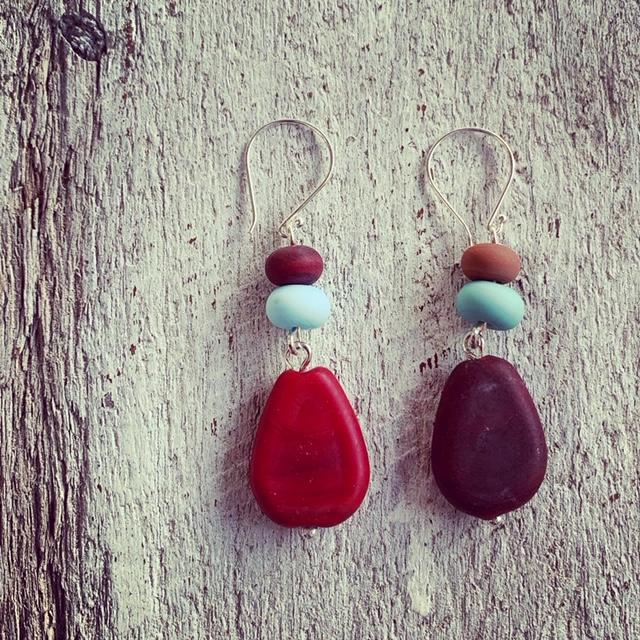 Long glass earrings