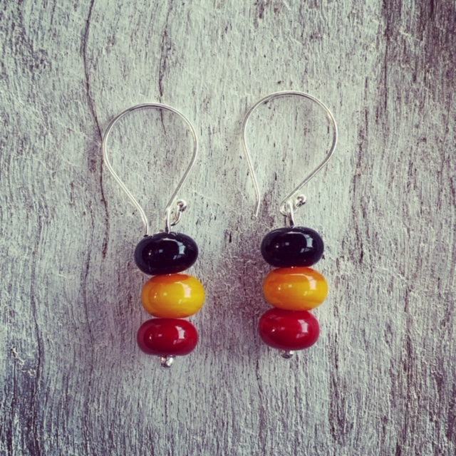 Red black and yellow earrings