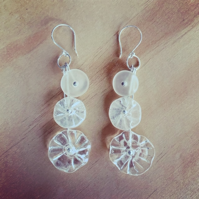 Recycled glass earrings