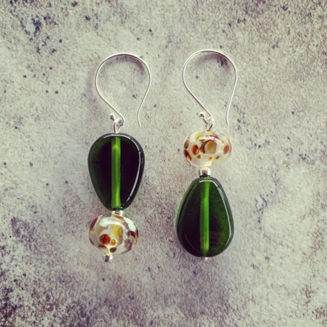 champagne and wine bottle recycled glass earrings