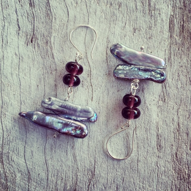 Recycled glass and pearl earrings